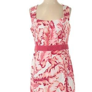 New York & Company pink palm frond dress